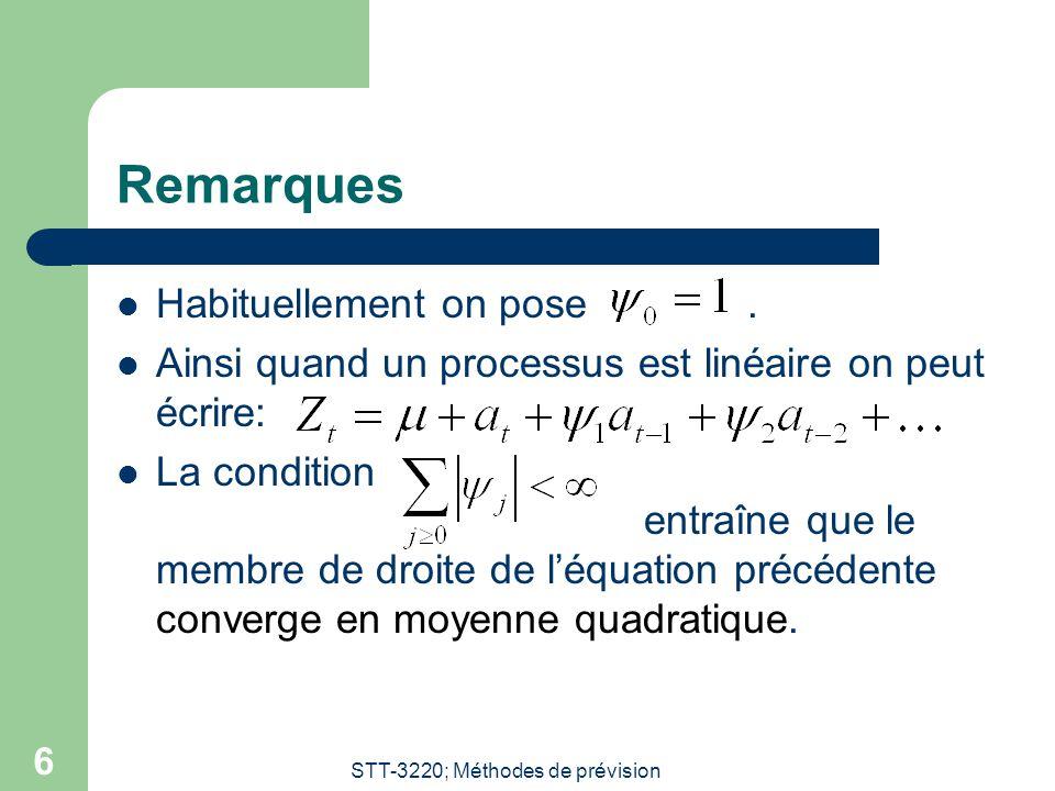 STT-3220; Méthodes de prévision 6 Remarques Habituellement on pose. Ainsi quand un processus est linéaire on peut écrire: La condition entraîne que le