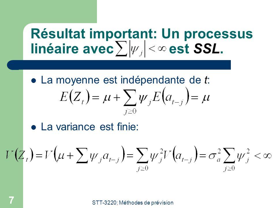 STT-3220; Méthodes de prévision 7 Résultat important: Un processus linéaire avecest SSL. La moyenne est indépendante de t: La variance est finie: