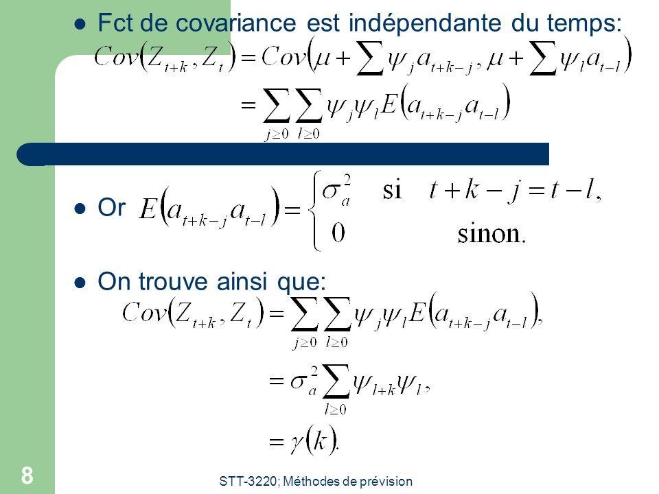 STT-3220; Méthodes de prévision 9 En résumé… Un processus linéaire est toujours SSL avec: On trouve que: La fct dautocorrélation est: