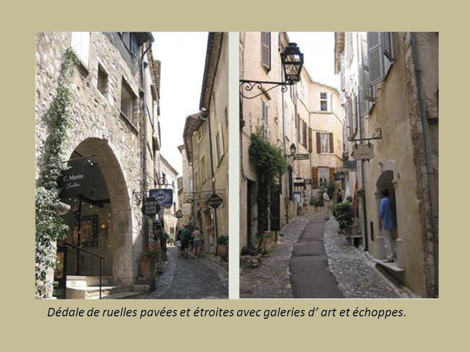 Dédale de ruelles pavées et étroites avec galeries d art et échoppes.