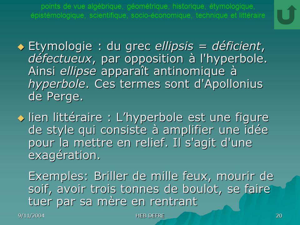 9/11/2004 HEB DEFRE 20 Etymologie : du grec ellipsis = déficient, défectueux, par opposition à l'hyperbole. Ainsi ellipse apparaît antinomique à hyper