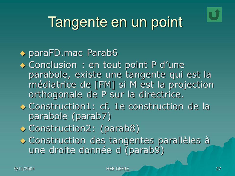9/11/2004 HEB DEFRE 27 Tangente en un point paraFD.mac Parab6 paraFD.mac Parab6 Conclusion : en tout point P dune parabole, existe une tangente qui es