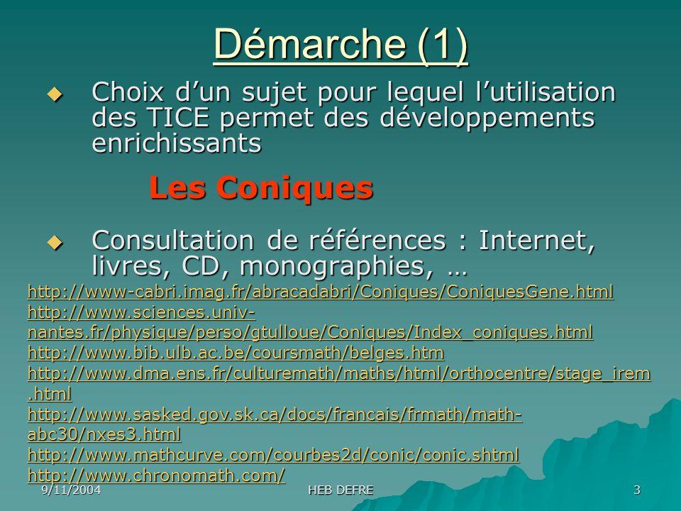 9/11/2004 HEB DEFRE 3 Démarche (1) Choix dun sujet pour lequel lutilisation des TICE permet des développements enrichissants Choix dun sujet pour lequ