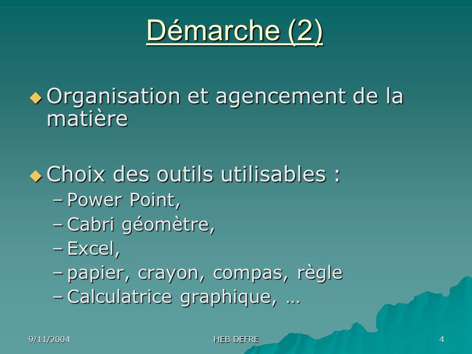 9/11/2004 HEB DEFRE 4 Démarche (2) Organisation et agencement de la matière Organisation et agencement de la matière Choix des outils utilisables : Ch