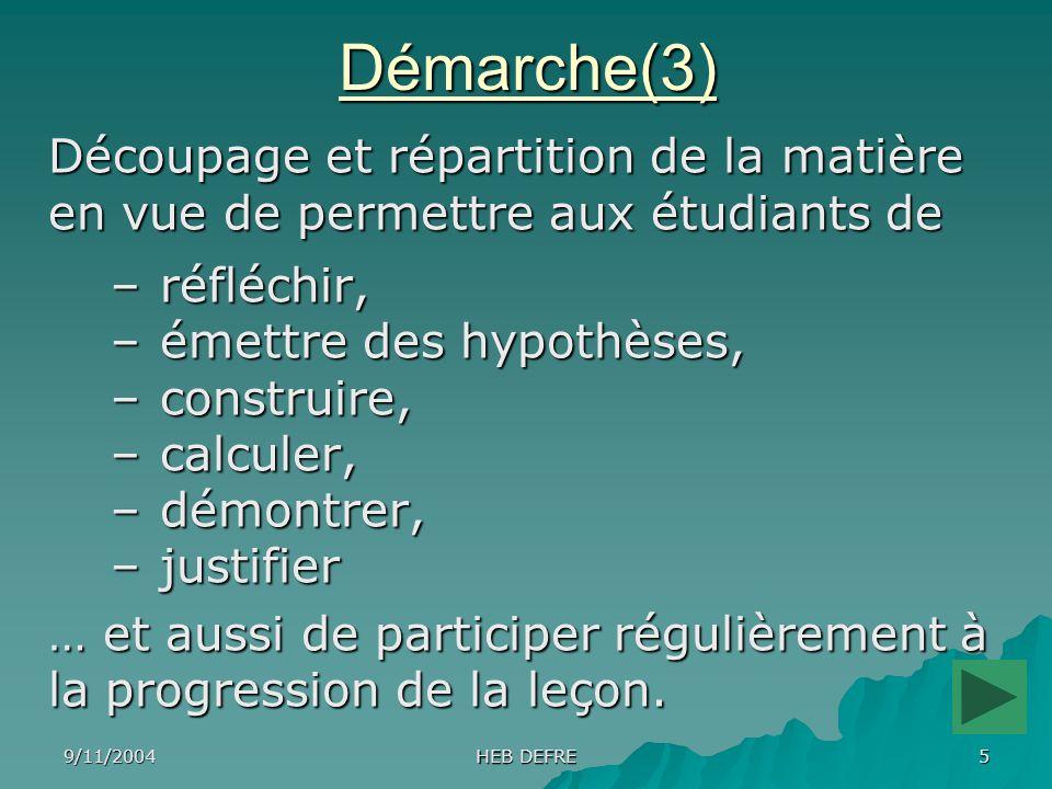 9/11/2004 HEB DEFRE 5Démarche(3) Découpage et répartition de la matière en vue de permettre aux étudiants de – réfléchir, – émettre des hypothèses, –