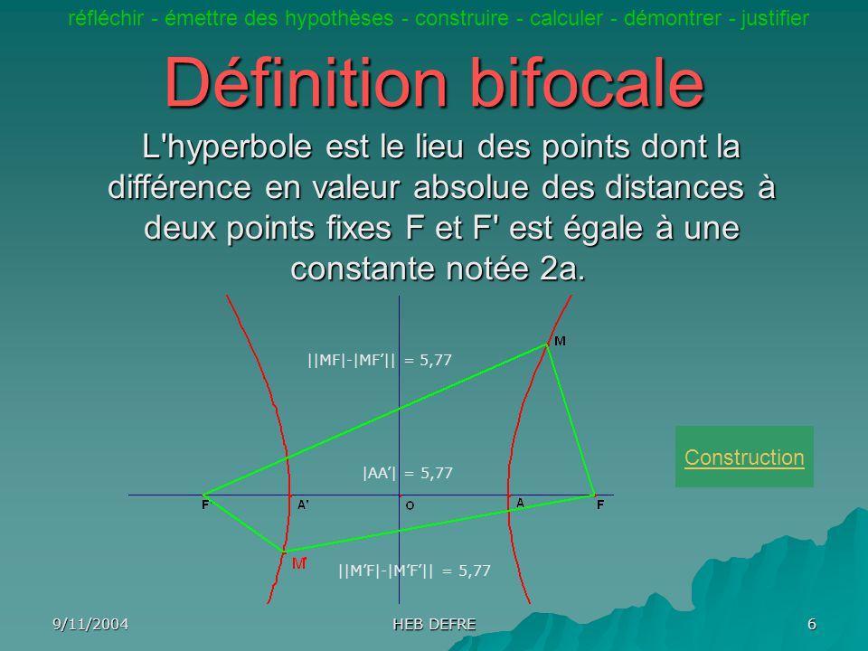 9/11/2004 HEB DEFRE 6 Définition bifocale L'hyperbole est le lieu des points dont la différence en valeur absolue des distances à deux points fixes F