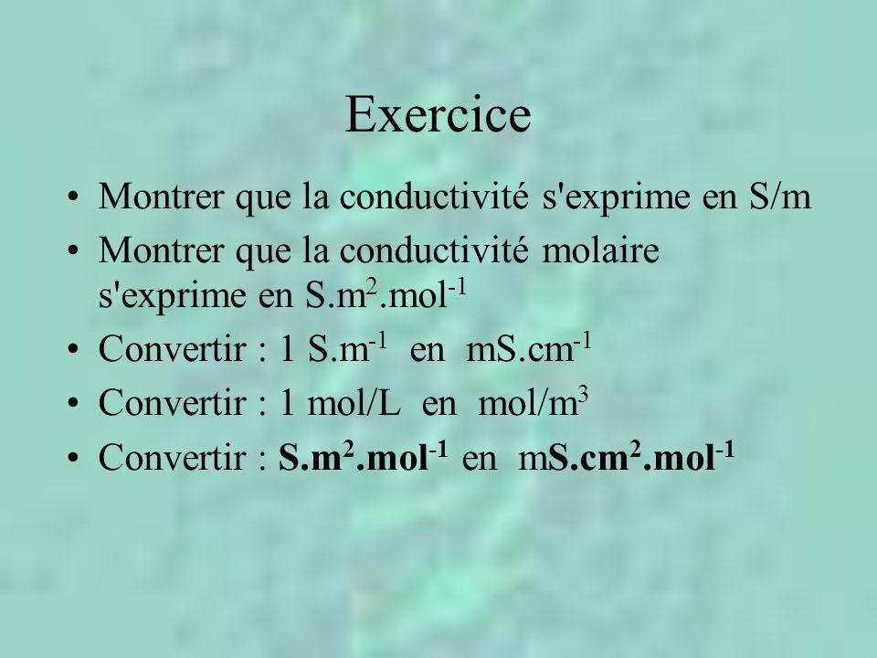 Exercice Montrer que la conductivité s exprime en S/m Montrer que la conductivité molaire s exprime en S.m 2.mol -1 Convertir : 1 S.m -1 en mS.cm -1 Convertir : 1 mol/L en mol/m 3 Convertir : S.m 2.mol -1 en mS.cm 2.mol -1