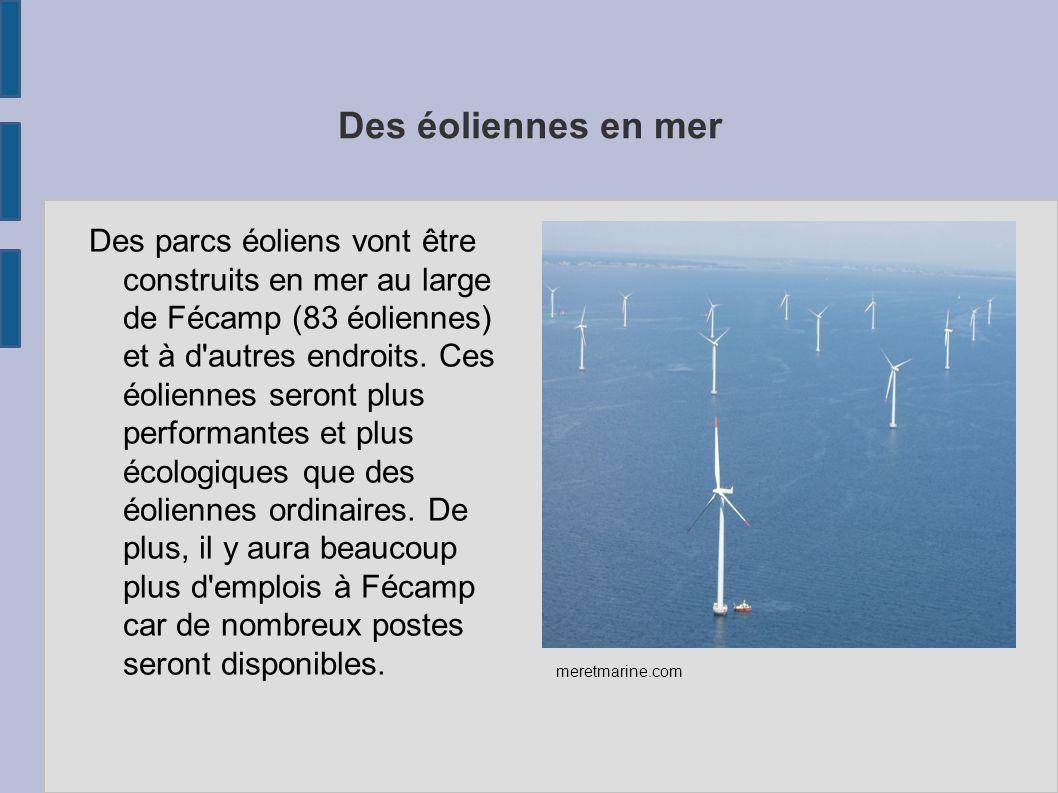 Des éoliennes en mer Des parcs éoliens vont être construits en mer au large de Fécamp (83 éoliennes) et à d'autres endroits. Ces éoliennes seront plus