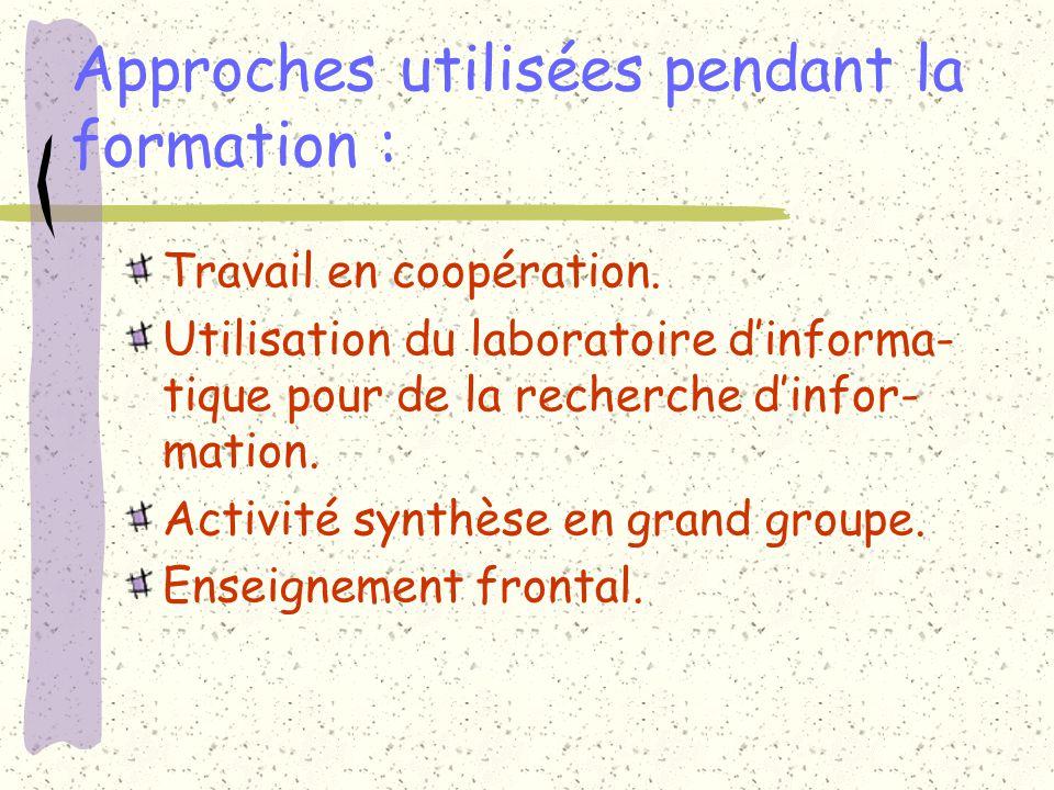 Approches utilisées pendant la formation : Travail en coopération. Utilisation du laboratoire dinforma- tique pour de la recherche dinfor- mation. Act