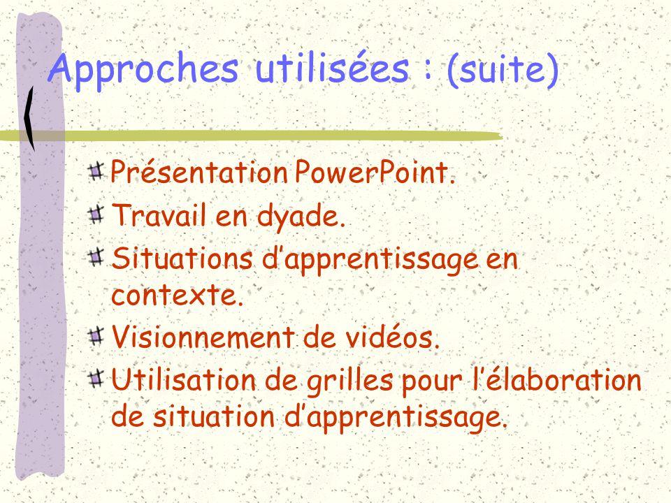Approches utilisées : (suite) Présentation PowerPoint. Travail en dyade. Situations dapprentissage en contexte. Visionnement de vidéos. Utilisation de