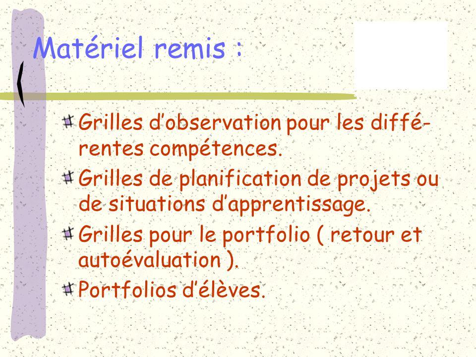 Matériel remis : Grilles dobservation pour les diffé- rentes compétences. Grilles de planification de projets ou de situations dapprentissage. Grilles