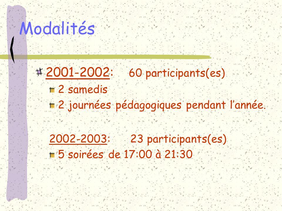 Modalités 2001-2002: 60 participants(es) 2 samedis 2 journées pédagogiques pendant lannée. 2002-2003: 23 participants(es) 5 soirées de 17:00 à 21:30