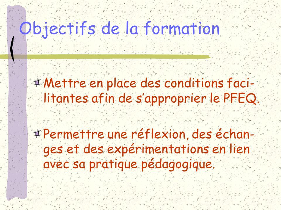 Objectifs de la formation Mettre en place des conditions faci- litantes afin de sapproprier le PFEQ. Permettre une réflexion, des échan- ges et des ex