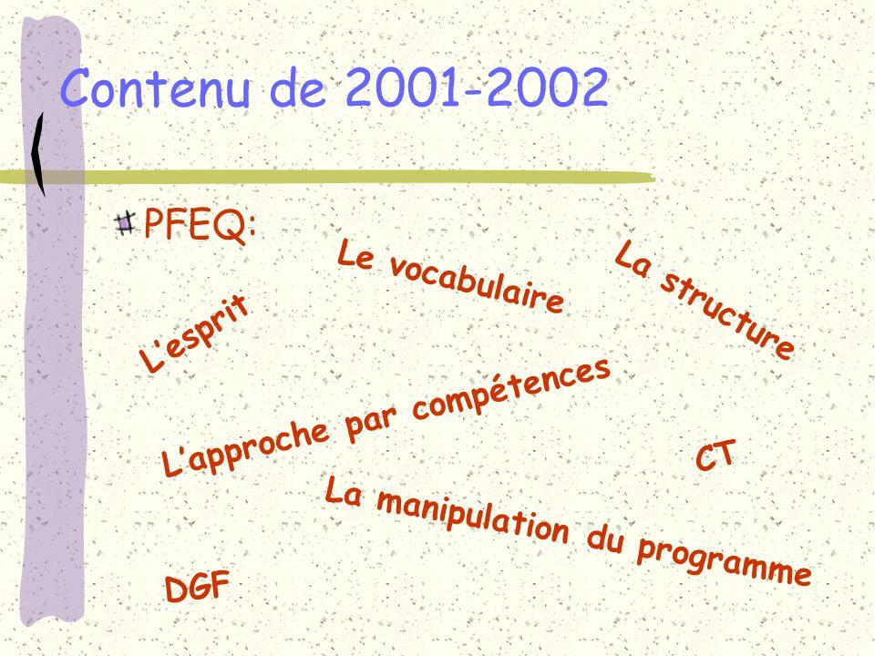 Contenu (suite) Les trois temps pédagogiques.Les approches intégratrices.
