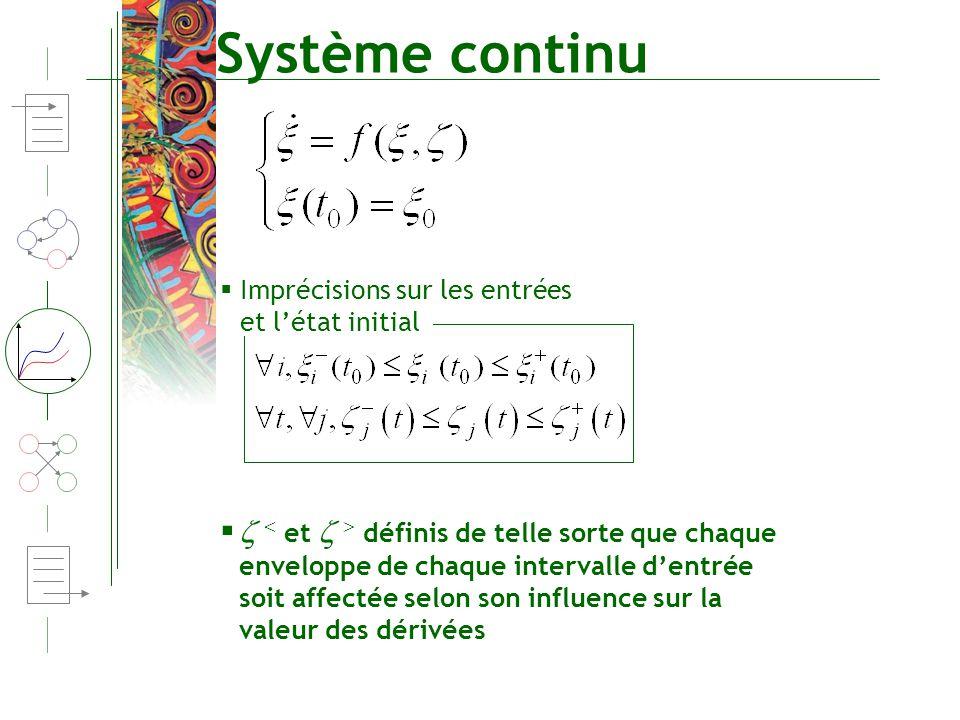 Système continu Imprécisions sur les entrées et létat initial et définis de telle sorte que chaque enveloppe de chaque intervalle dentrée soit affecté