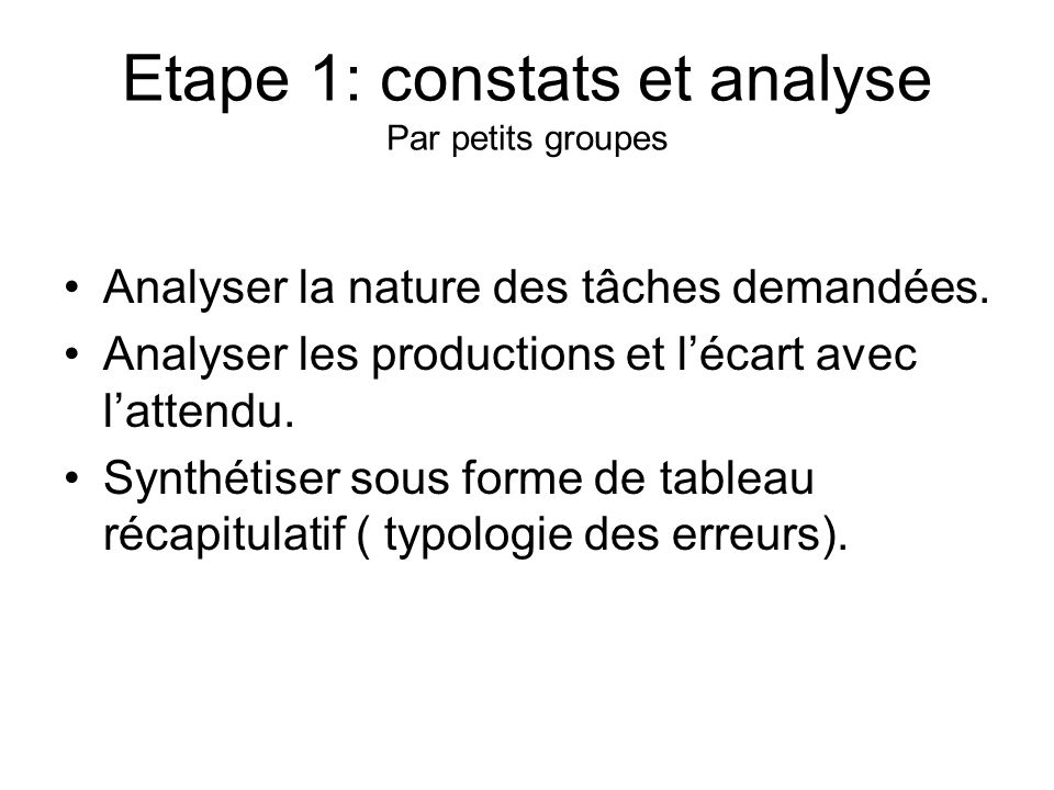 Etape 1: constats et analyse Par petits groupes Analyser la nature des tâches demandées. Analyser les productions et lécart avec lattendu. Synthétiser