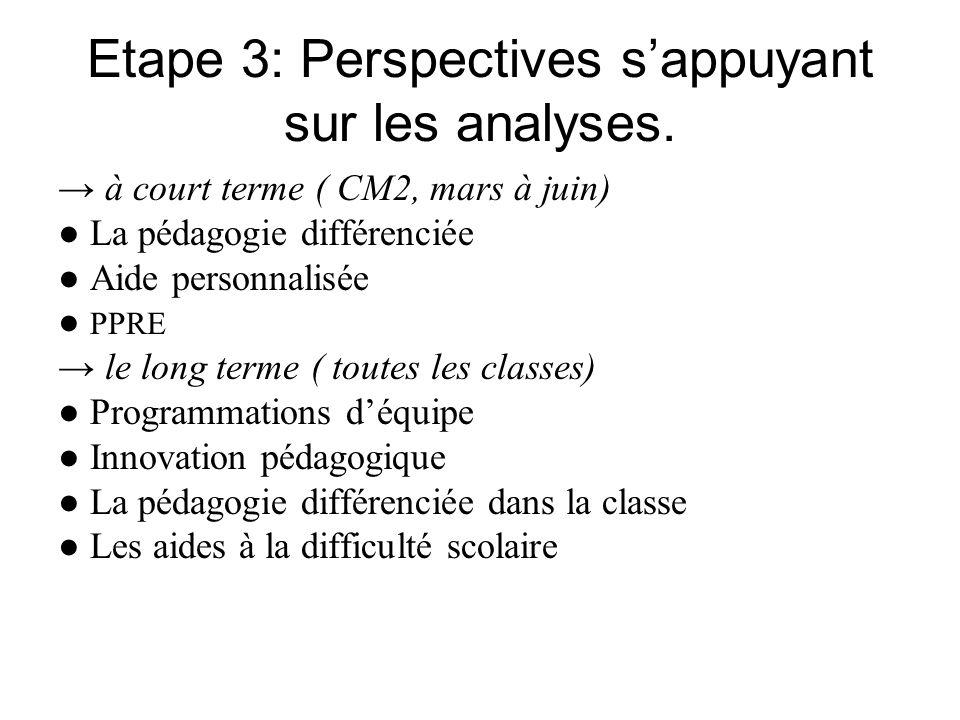 Etape 3: Perspectives sappuyant sur les analyses. à court terme ( CM2, mars à juin) La pédagogie différenciée Aide personnalisée PPRE le long terme (