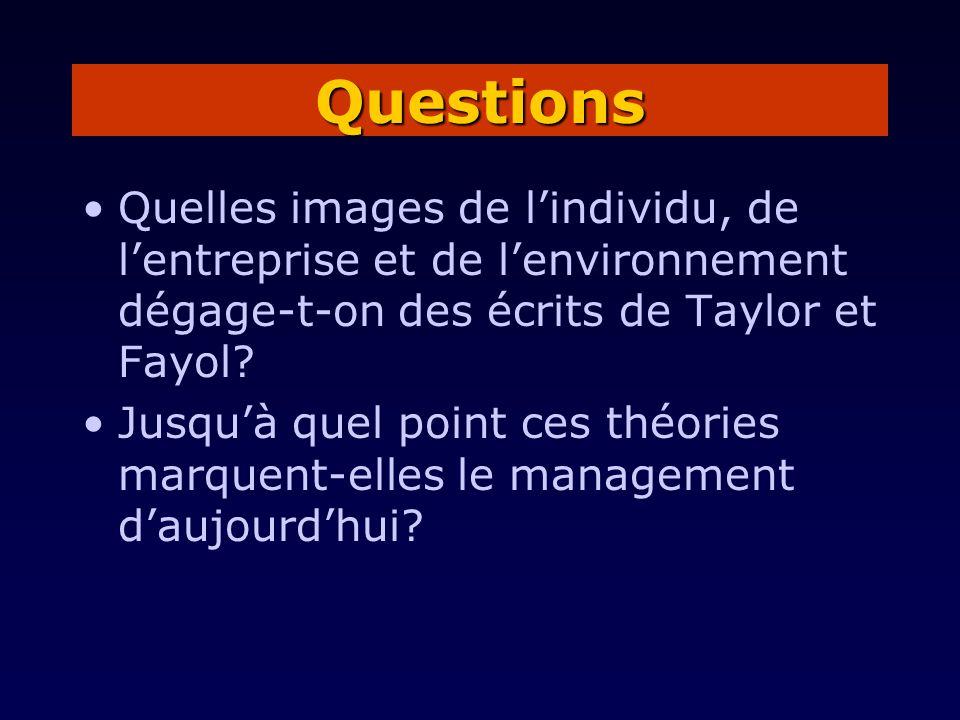 Quelles images de lindividu, de lentreprise et de lenvironnement dégage-t-on des écrits de Taylor et Fayol? Jusquà quel point ces théories marquent-el