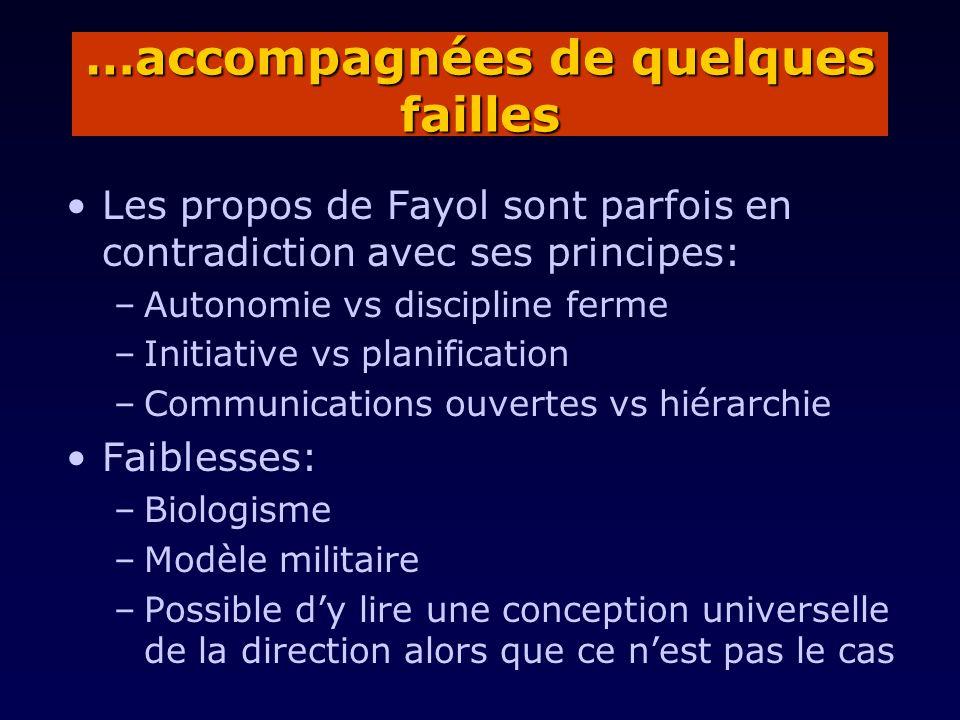 Les propos de Fayol sont parfois en contradiction avec ses principes: –Autonomie vs discipline ferme –Initiative vs planification –Communications ouve