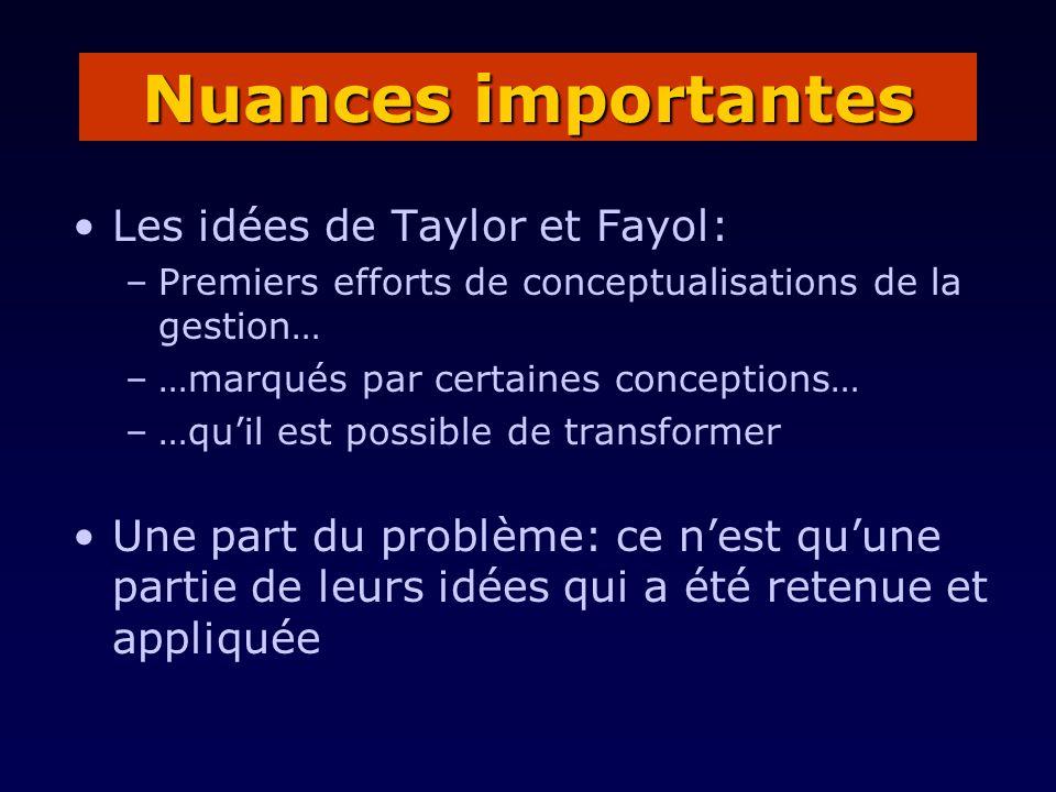 Les idées de Taylor et Fayol: –Premiers efforts de conceptualisations de la gestion… –…marqués par certaines conceptions… –…quil est possible de trans