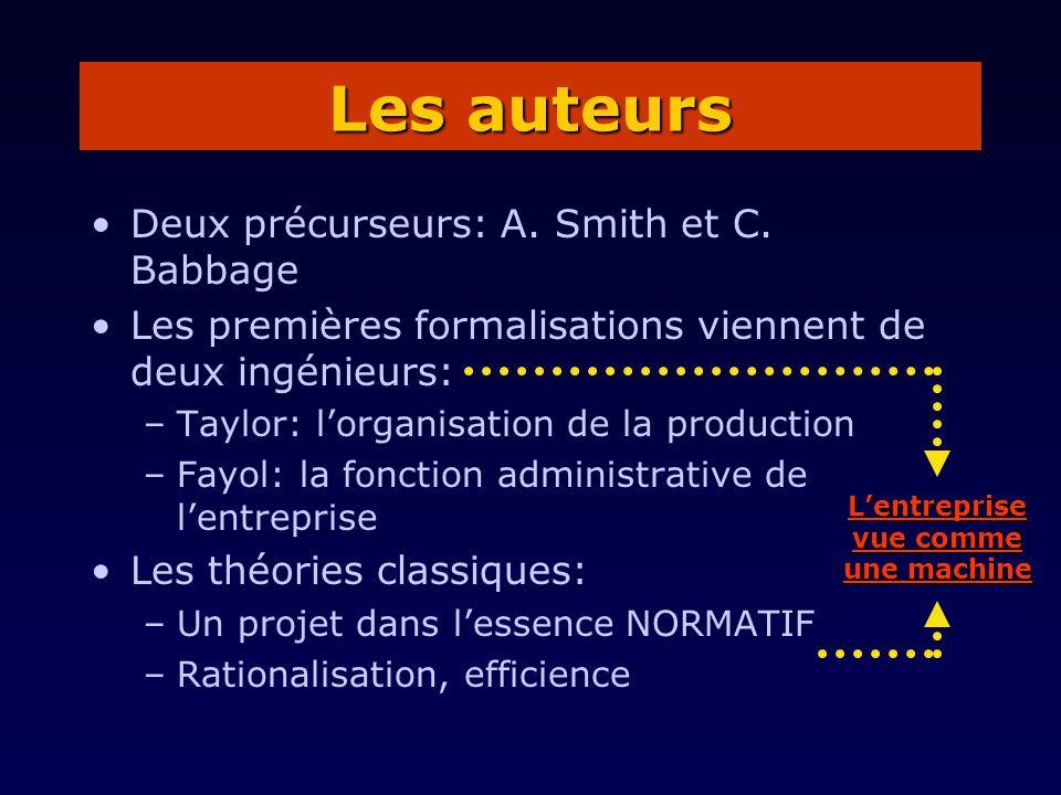 Deux précurseurs: A. Smith et C. Babbage Les premières formalisations viennent de deux ingénieurs: –Taylor: lorganisation de la production –Fayol: la