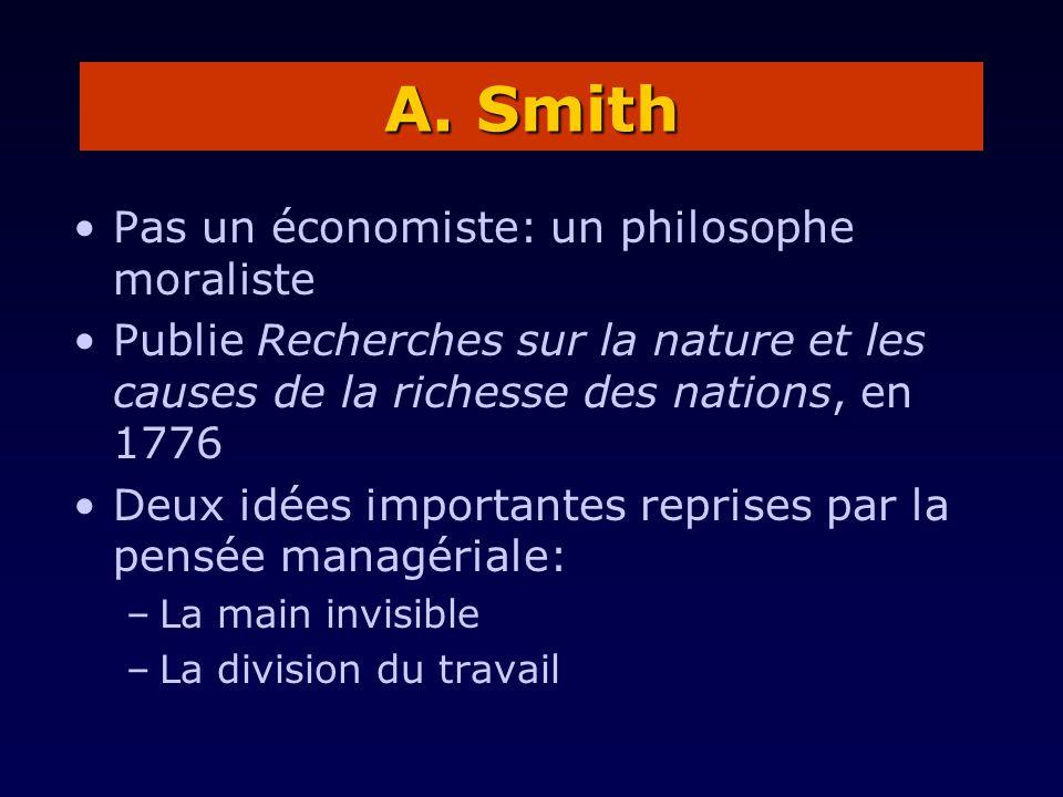Pas un économiste: un philosophe moraliste Publie Recherches sur la nature et les causes de la richesse des nations, en 1776 Deux idées importantes re