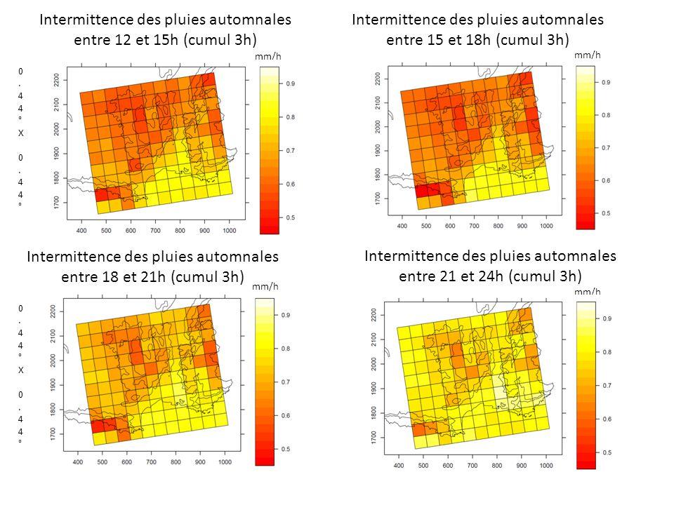 Intermittence des pluies automnales entre 12 et 15h (cumul 3h) Intermittence des pluies automnales entre 15 et 18h (cumul 3h) 0.44°X 0.44°0.44°X 0.44° Intermittence des pluies automnales entre 18 et 21h (cumul 3h) Intermittence des pluies automnales entre 21 et 24h (cumul 3h) 0.44°X 0.44°0.44°X 0.44° mm/h