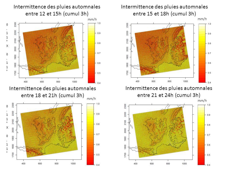 Intermittence des pluies automnales entre 12 et 15h (cumul 3h) Intermittence des pluies automnales entre 15 et 18h (cumul 3h) 0.11°X 0.11°0.11°X 0.11° Intermittence des pluies automnales entre 18 et 21h (cumul 3h) Intermittence des pluies automnales entre 21 et 24h (cumul 3h) 0.11°X 0.11°0.11°X 0.11° mm/h