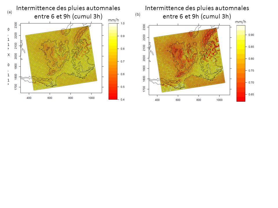 Intermittence des pluies automnales entre 6 et 9h (cumul 3h) 0.11°X 0.11°0.11°X 0.11° mm/h (a) (b)