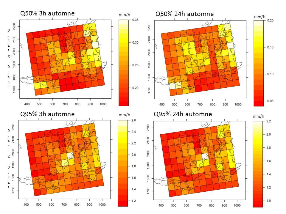 Q50% 3h automne Q50% 24h automne Q95% 3h automne Q95% 24h automne 0.44°X 0.44°0.44°X 0.44° 0.44°X 0.44°0.44°X 0.44° mm/h