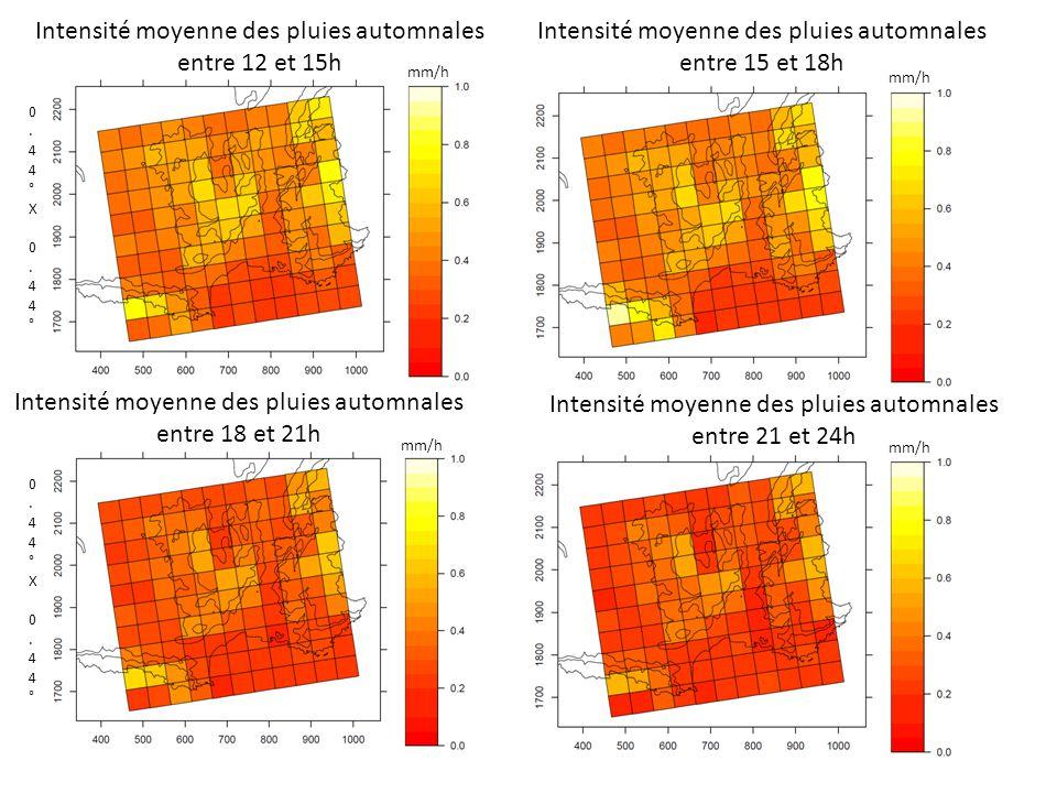 Intensité moyenne des pluies automnales entre 12 et 15h Intensité moyenne des pluies automnales entre 15 et 18h 0.44°X 0.44°0.44°X 0.44° Intensité moyenne des pluies automnales entre 18 et 21h Intensité moyenne des pluies automnales entre 21 et 24h 0.44°X 0.44°0.44°X 0.44° mm/h