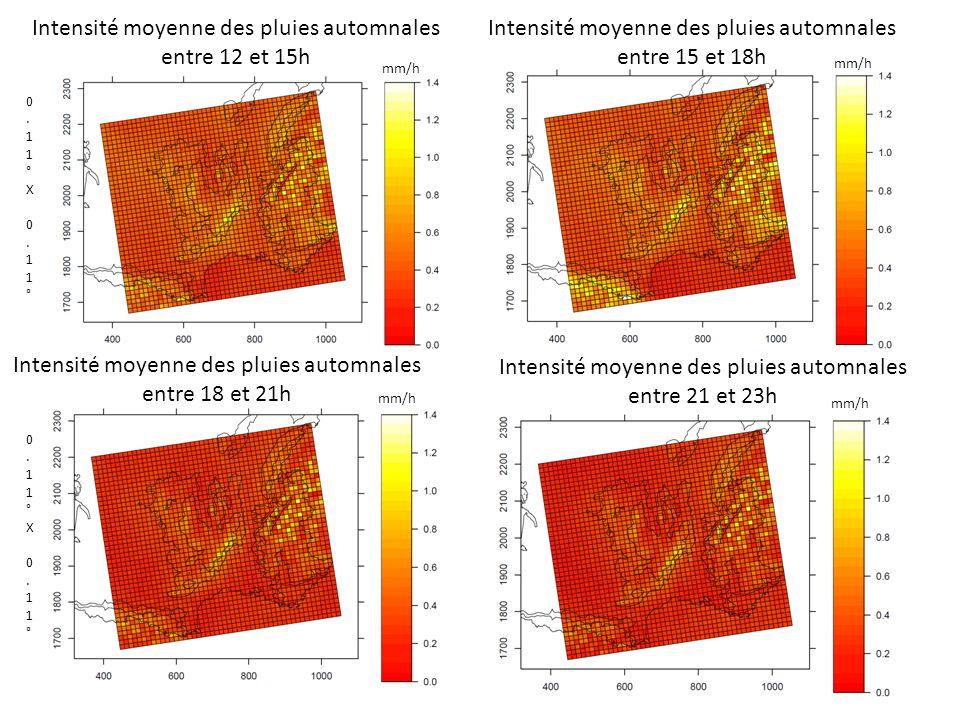 Intensité moyenne des pluies automnales entre 12 et 15h Intensité moyenne des pluies automnales entre 15 et 18h 0.11°X 0.11°0.11°X 0.11° Intensité moyenne des pluies automnales entre 18 et 21h Intensité moyenne des pluies automnales entre 21 et 23h 0.11°X 0.11°0.11°X 0.11° mm/h