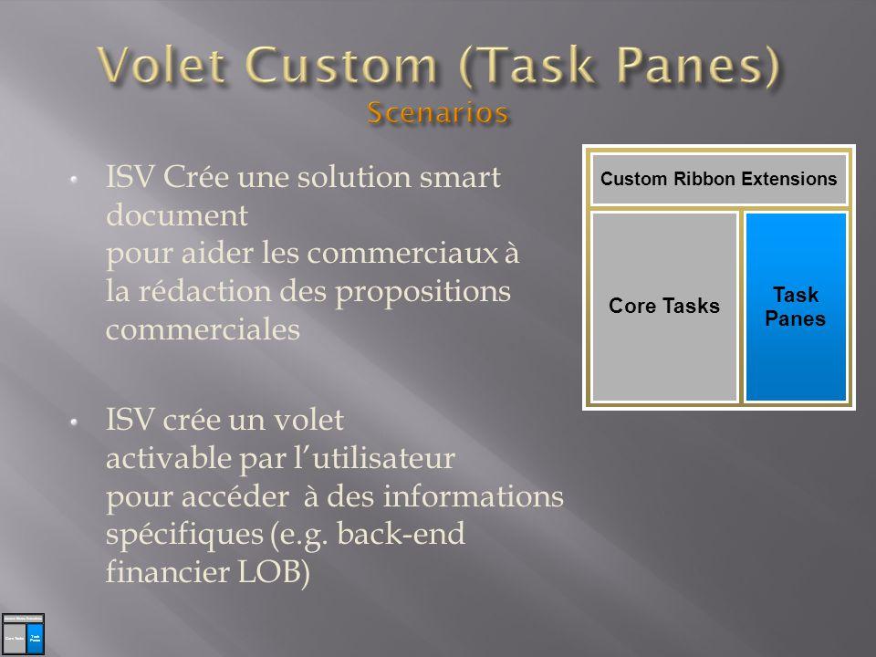 ISV Crée une solution smart document pour aider les commerciaux à la rédaction des propositions commerciales ISV crée un volet activable par lutilisateur pour accéder à des informations spécifiques (e.g.