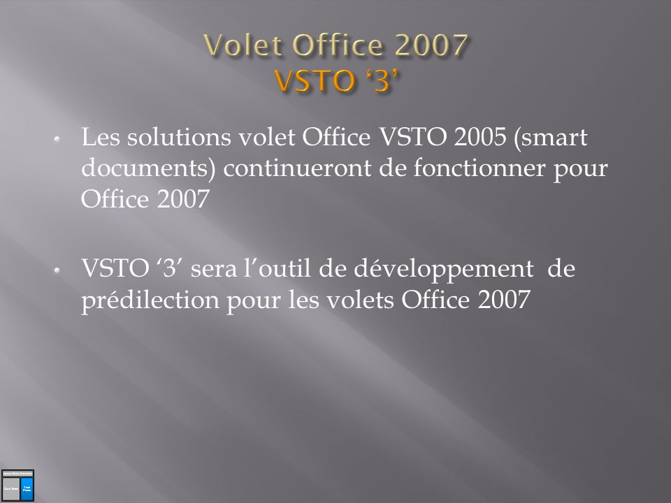 Les solutions volet Office VSTO 2005 (smart documents) continueront de fonctionner pour Office 2007 VSTO 3 sera loutil de développement de prédilection pour les volets Office 2007