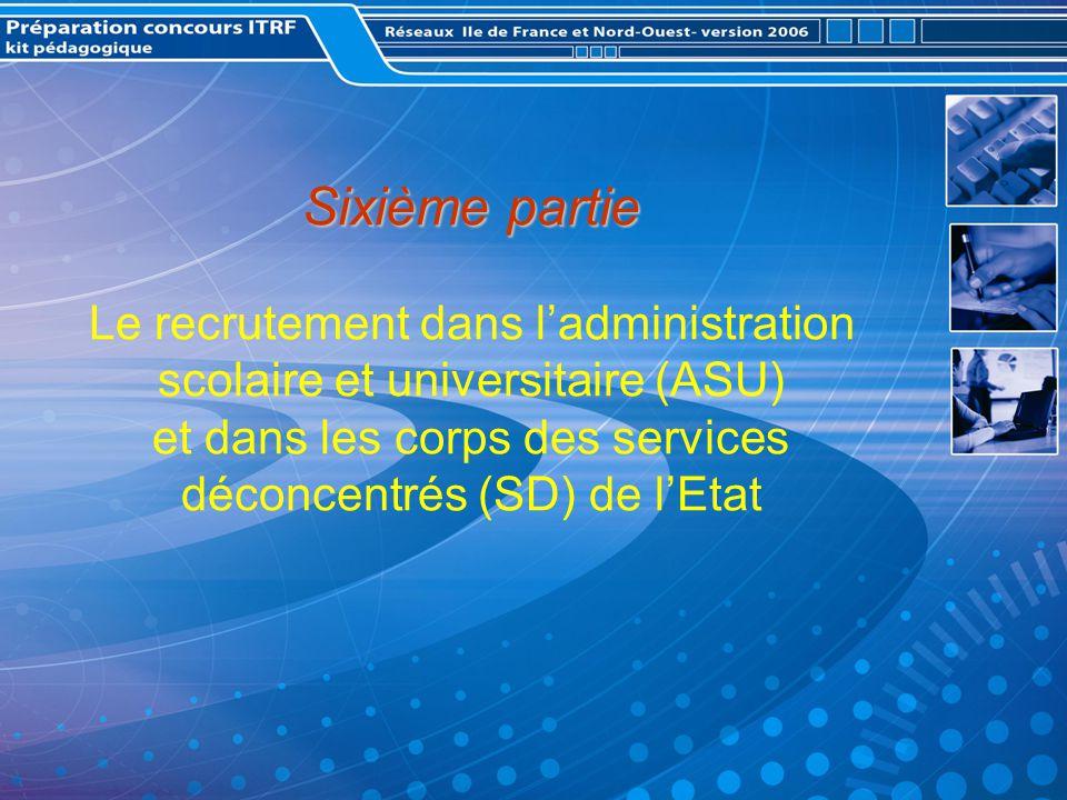 Sixième partie Sixième partie Le recrutement dans ladministration scolaire et universitaire (ASU) et dans les corps des services déconcentrés (SD) de lEtat