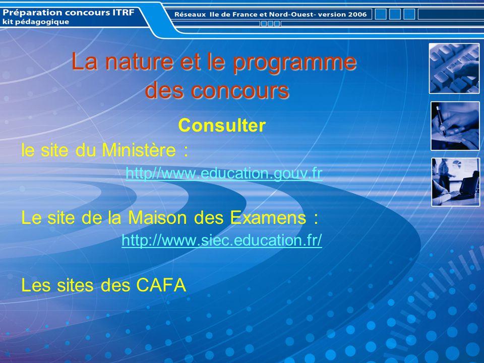 La nature et le programme des concours Consulter le site du Ministère : http//www.education.gouv.fr Le site de la Maison des Examens : http://www.siec.education.fr/ Les sites des CAFA