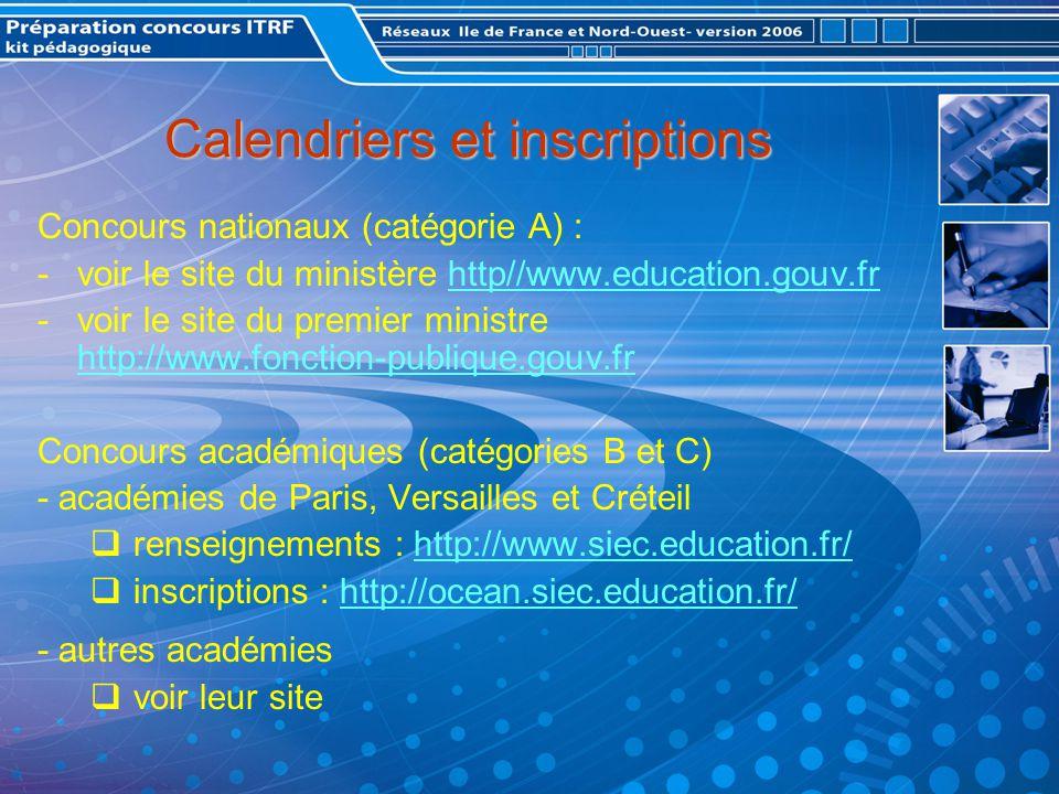 Calendriers et inscriptions Concours nationaux (catégorie A) : -voir le site du ministère http//www.education.gouv.frhttp//www.education.gouv.fr -voir le site du premier ministre http://www.fonction-publique.gouv.fr http://www.fonction-publique.gouv.fr Concours académiques (catégories B et C) - académies de Paris, Versailles et Créteil renseignements : http://www.siec.education.fr/http://www.siec.education.fr/ inscriptions : http://ocean.siec.education.fr/http://ocean.siec.education.fr/ - autres académies voir leur site