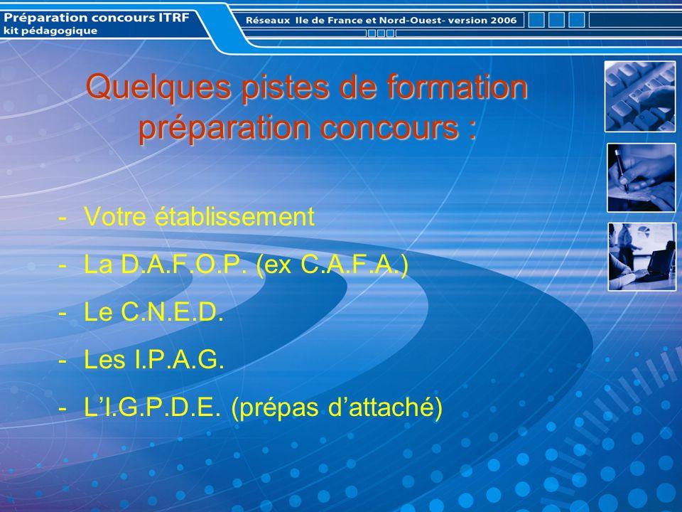 Quelques pistes de formation préparation concours : -Votre établissement -La D.A.F.O.P.