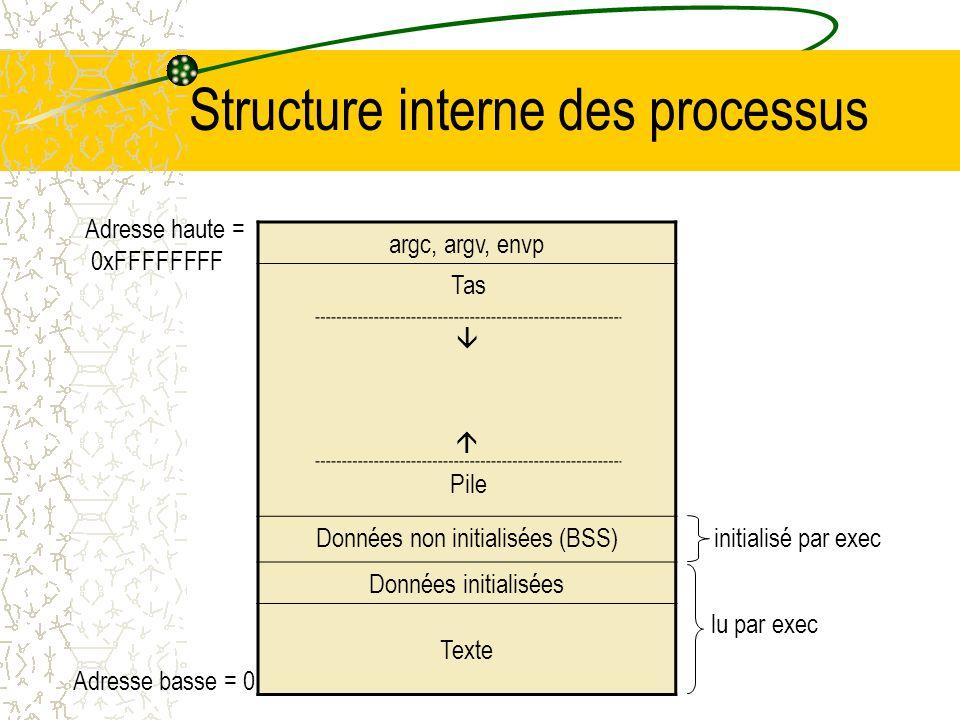 Chargement/changement dun exécutable Lappel système execve change lexécutable du processus courant en chargeant un nouvel exécutable Pour chaque secti