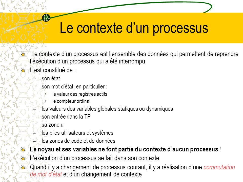 zone u et table des processus Tous les processus sont associés à une entrée dans la TP qui interne au noyau De +, le noyau alloue pour chaque processu