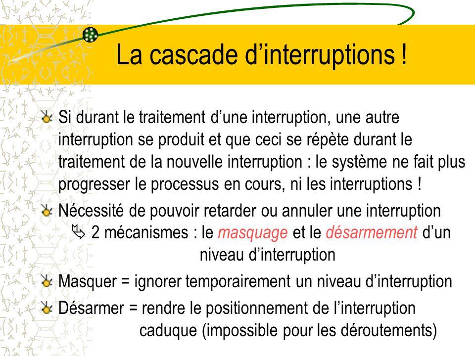 Les interruptions sous Unix 6 niveaux dinterruptions : Lhorloge est la plus prioritaire dans un système Unix Nature de linterruptionFonction de traite
