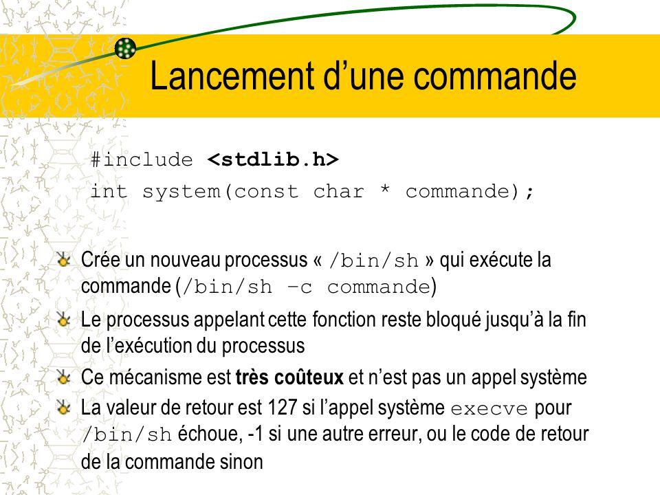 Les appels systèmes exec (2) La famille des fonctions exec remplace limage mémoire du processus en cours par un nouveau processus. Informations conser