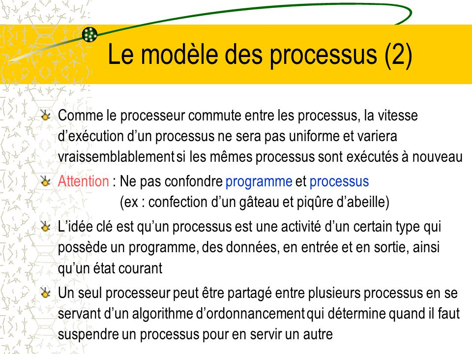 Le modèle des processus (1) Un processus est un programme qui sexécute et qui possède son compteur ordinal, ses registres et ses variables Conceptuell