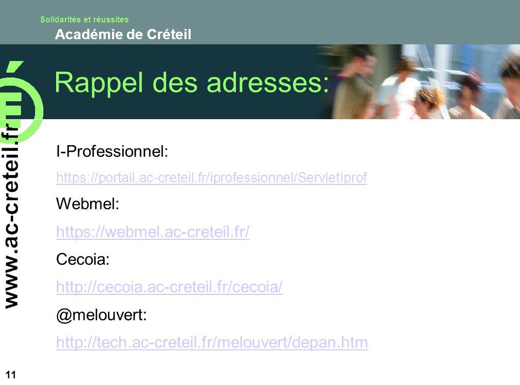 Solidarités et réussites Académie de Créteil 11 Rappel des adresses: I-Professionnel: https://portail.ac-creteil.fr/iprofessionnel/ServletIprof Webmel