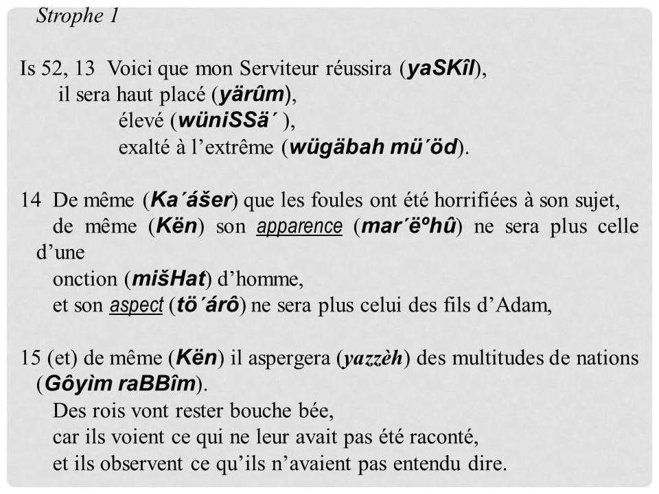 Strophe 1 Is 52, 13 Voici que mon Serviteur réussira ( yaSKîl ), il sera haut placé ( yärûm), élevé ( wüniSSä´ ), exalté à lextrême ( wügäbah mü´öd ).