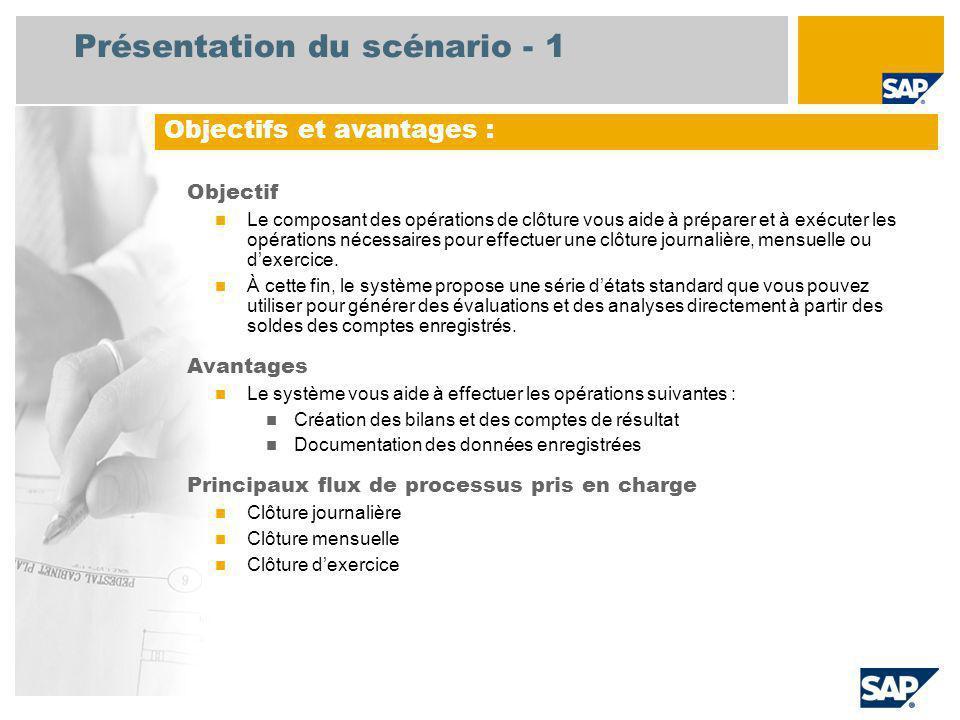 Présentation du scénario - 1 Objectif Le composant des opérations de clôture vous aide à préparer et à exécuter les opérations nécessaires pour effectuer une clôture journalière, mensuelle ou dexercice.