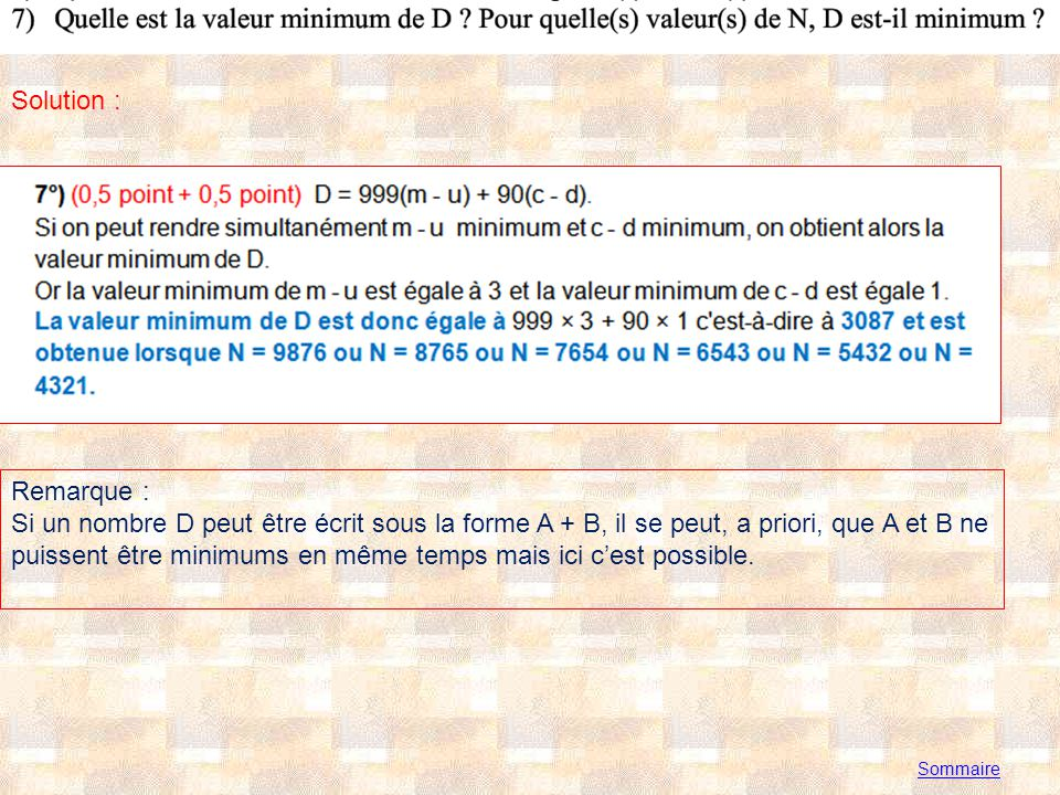 Annexe 1 Sommaire