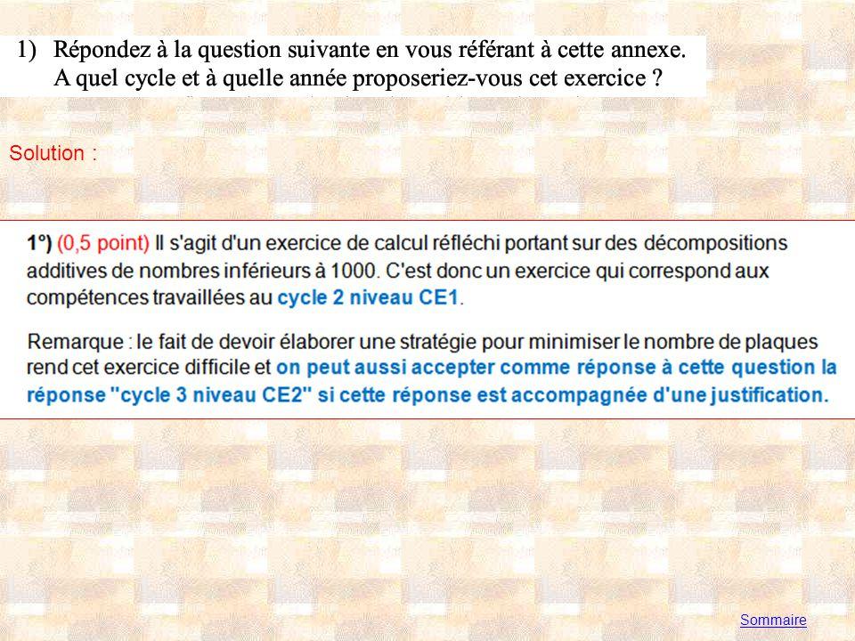 Annexe 2 Sommaire