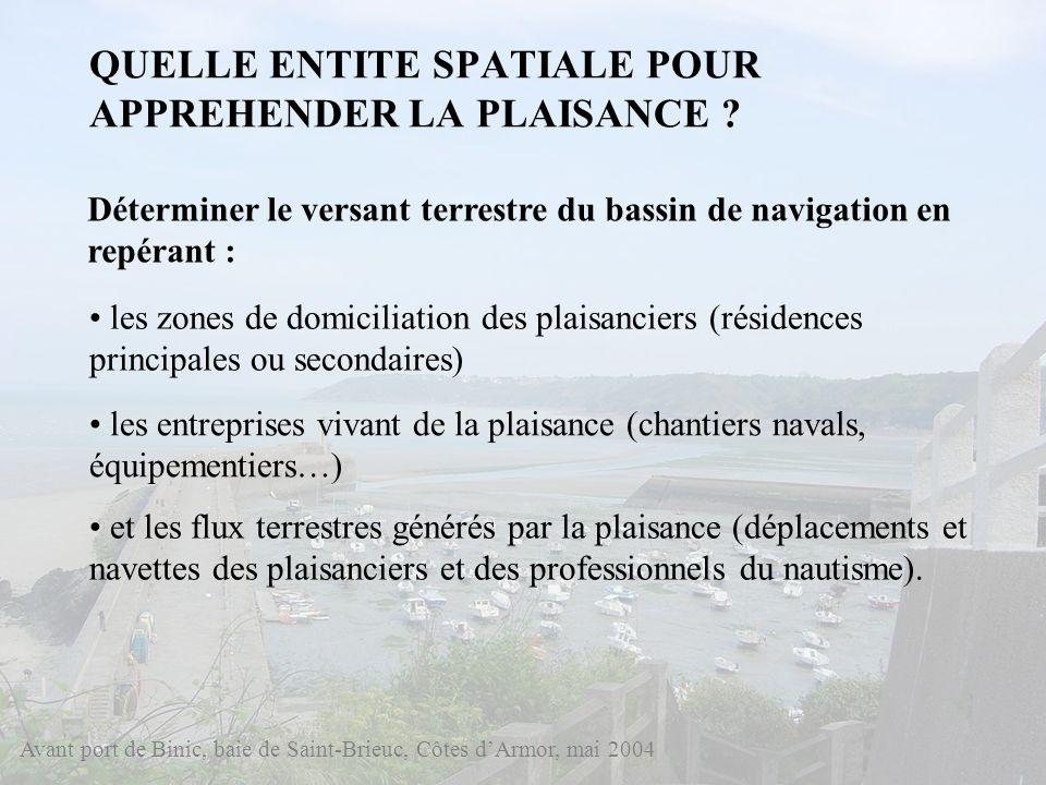 QUELLE ENTITE SPATIALE POUR APPREHENDER LA PLAISANCE ? Avant port de Binic, baie de Saint-Brieuc, Côtes dArmor, mai 2004 Déterminer le versant terrest