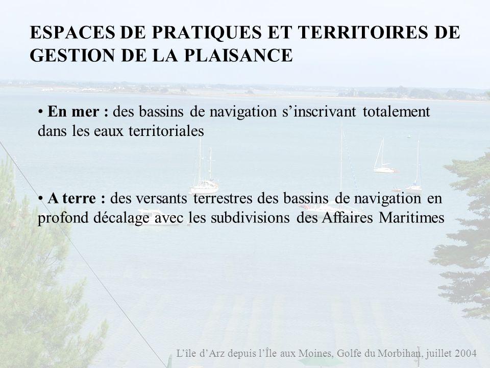 Lîle dArz depuis lÎle aux Moines, Golfe du Morbihan, juillet 2004 ESPACES DE PRATIQUES ET TERRITOIRES DE GESTION DE LA PLAISANCE En mer : des bassins